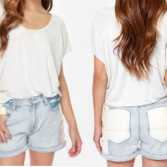 MINKPINK High Waist White Faux Leather Jean Shorts